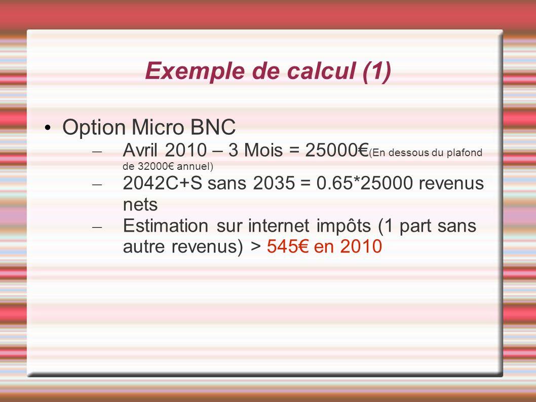 Exemple de calcul (1) Option Micro BNC – Avril 2010 – 3 Mois = 25000 (En dessous du plafond de 32000 annuel) – 2042C+S sans 2035 = 0.65*25000 revenus