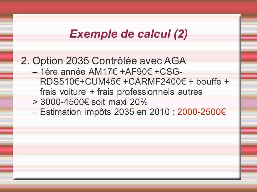 Exemple de calcul (2) 2. Option 2035 Contrôlée avec AGA – 1ère année AM17 +AF90 +CSG- RDS510+CUM45 +CARMF2400 + bouffe + frais voiture + frais profess