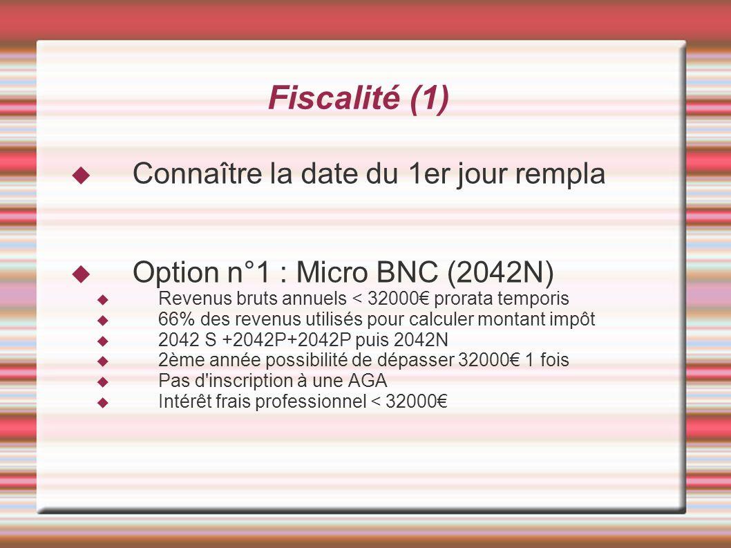 Fiscalité (1) Connaître la date du 1er jour rempla Option n°1 : Micro BNC (2042N) Revenus bruts annuels < 32000 prorata temporis 66% des revenus utili