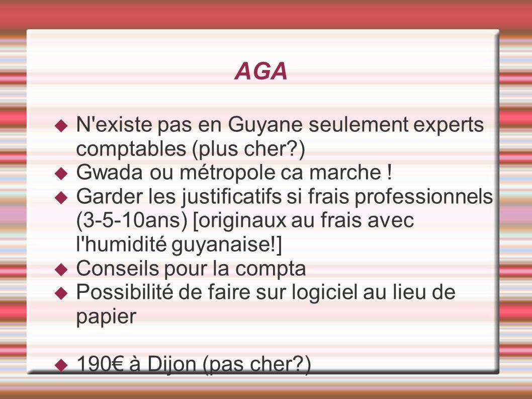 AGA N'existe pas en Guyane seulement experts comptables (plus cher?) Gwada ou métropole ca marche ! Garder les justificatifs si frais professionnels (