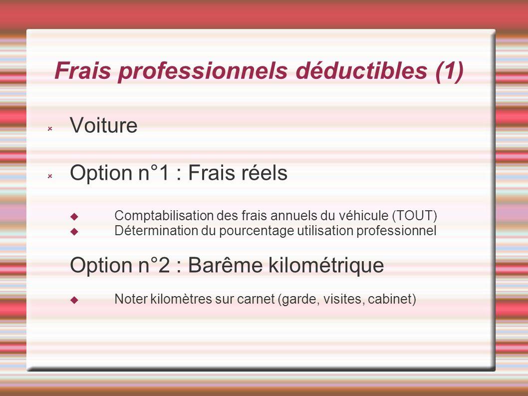 Frais professionnels déductibles (1) Voiture Option n°1 : Frais réels Comptabilisation des frais annuels du véhicule (TOUT) Détermination du pourcenta