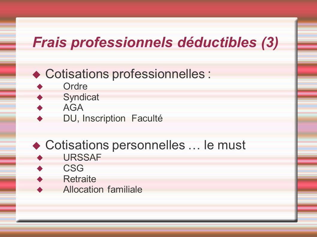 Frais professionnels déductibles (3) Cotisations professionnelles : Ordre Syndicat AGA DU, Inscription Faculté Cotisations personnelles … le must URSS
