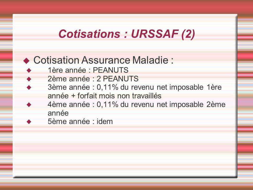 Cotisations : URSSAF (2) Cotisation Assurance Maladie : 1ère année : PEANUTS 2ème année : 2 PEANUTS 3ème année : 0,11% du revenu net imposable 1ère an
