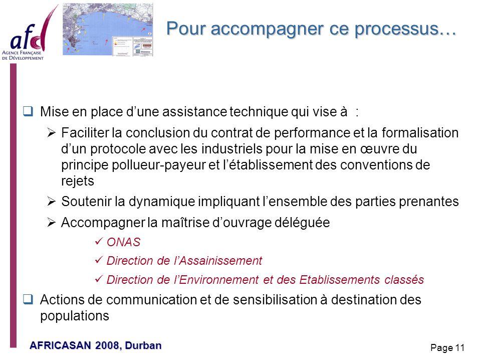 AFRICASAN 2008, Durban Page 11 Pour accompagner ce processus… Mise en place dune assistance technique qui vise à : Faciliter la conclusion du contrat