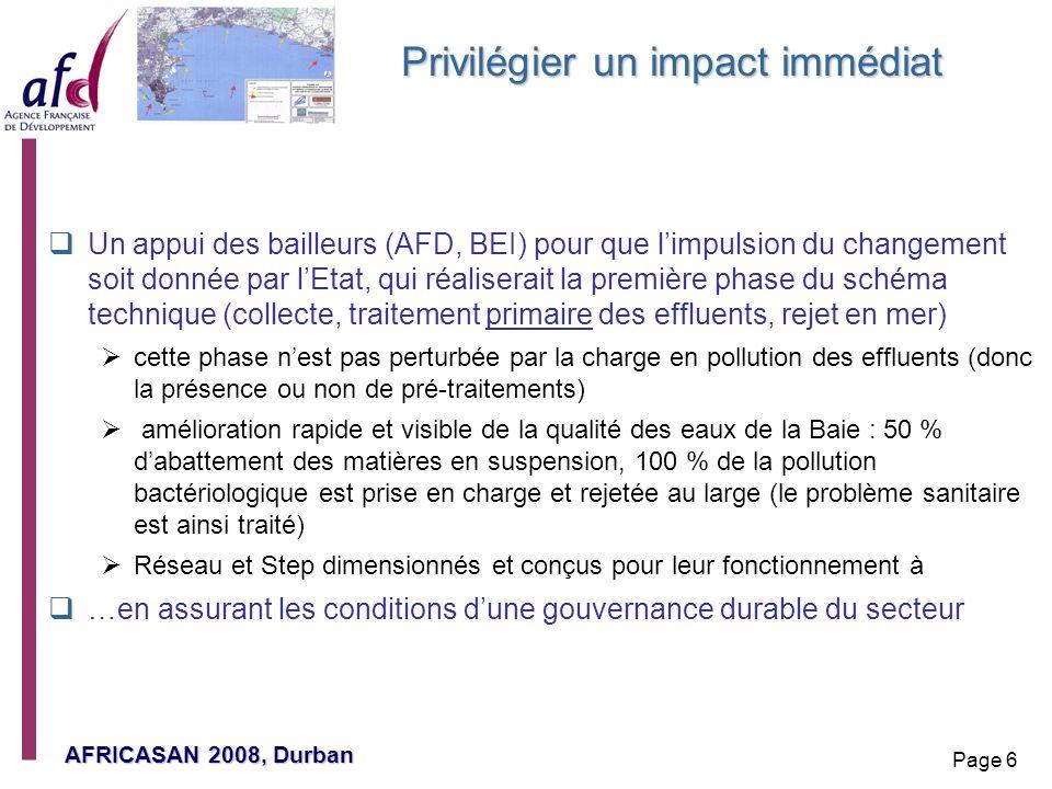 AFRICASAN 2008, Durban Page 6 Privilégier un impact immédiat Un appui des bailleurs (AFD, BEI) pour que limpulsion du changement soit donnée par lEtat