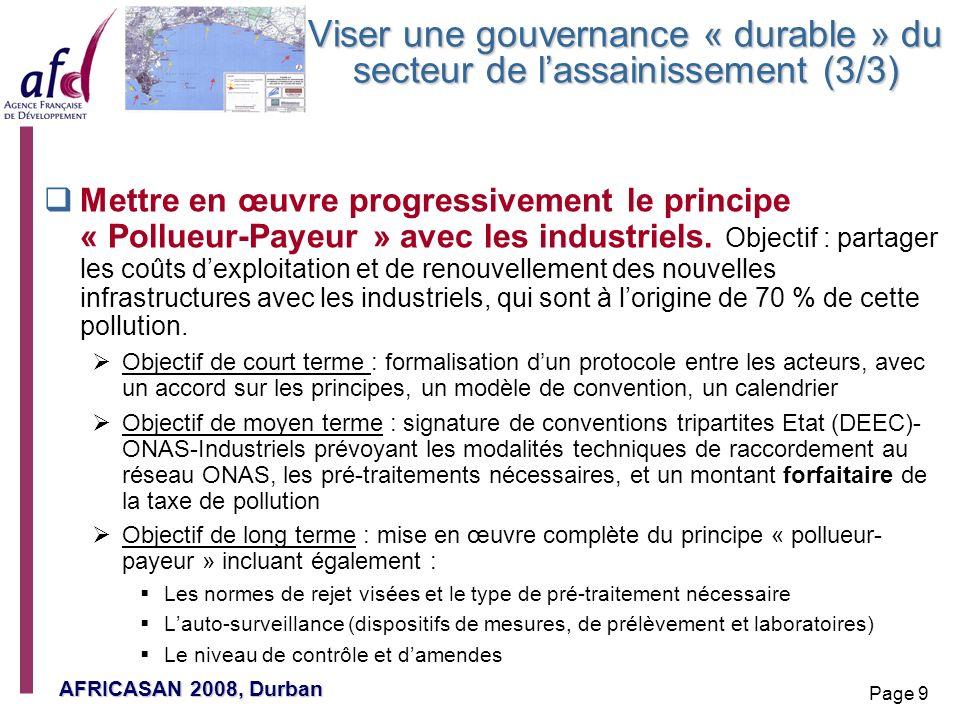 AFRICASAN 2008, Durban Page 9 Viser une gouvernance « durable » du secteur de lassainissement (3/3) Mettre en œuvre progressivement le principe « Poll