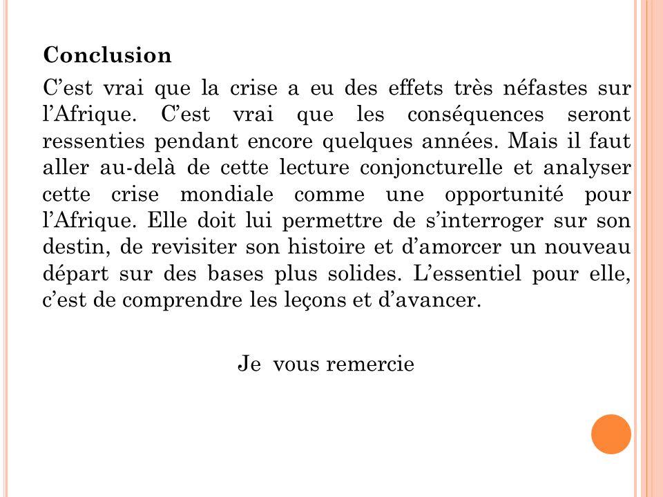 Conclusion Cest vrai que la crise a eu des effets très néfastes sur lAfrique.