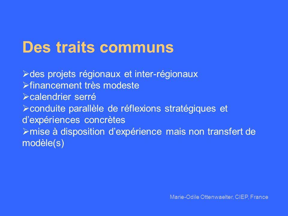 Des traits communs des projets régionaux et inter-régionaux financement très modeste calendrier serré conduite parallèle de réflexions stratégiques et