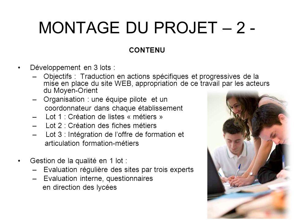MONTAGE DU PROJET – 2 - CONTENU Développement en 3 lots : –Objectifs : Traduction en actions spécifiques et progressives de la mise en place du site W
