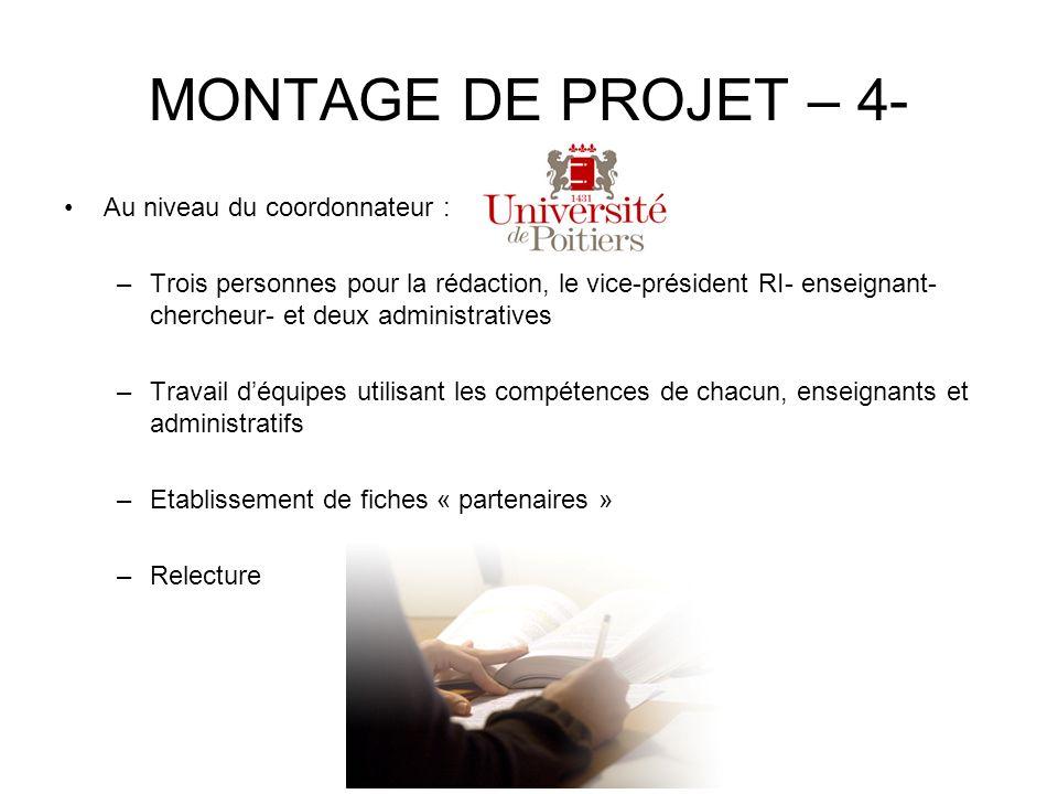MONTAGE DE PROJET – 4- Au niveau du coordonnateur : –Trois personnes pour la rédaction, le vice-président RI- enseignant- chercheur- et deux administr