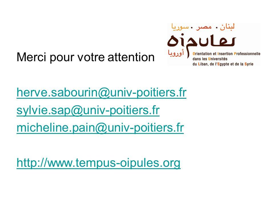 Merci pour votre attention herve.sabourin@univ-poitiers.fr sylvie.sap@univ-poitiers.fr micheline.pain@univ-poitiers.fr http://www.tempus-oipules.org