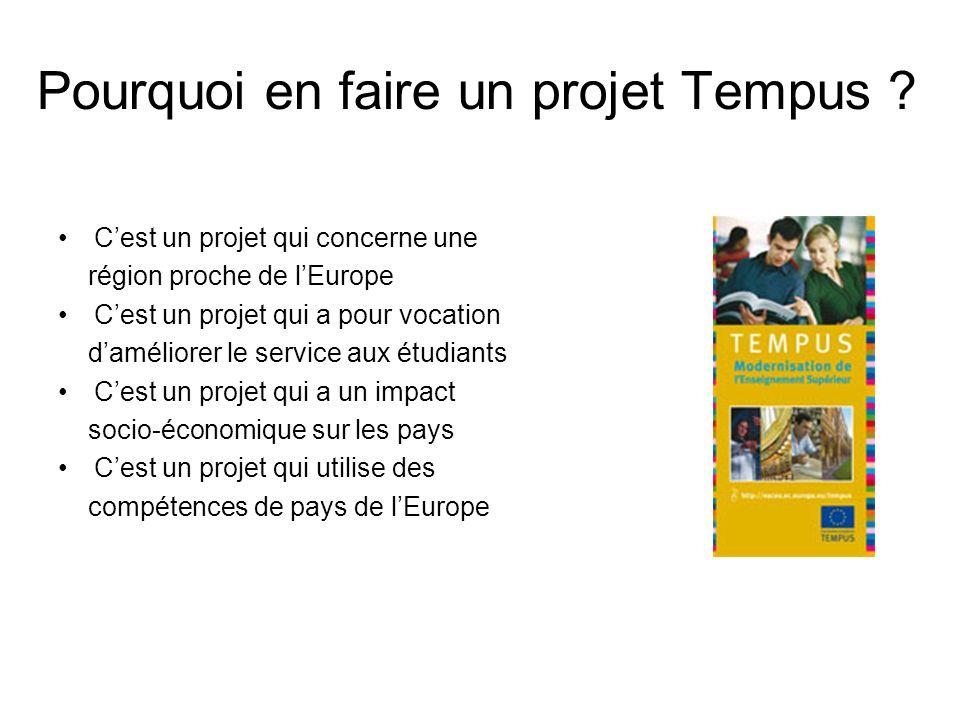 Pourquoi en faire un projet Tempus ? Cest un projet qui concerne une région proche de lEurope Cest un projet qui a pour vocation daméliorer le service