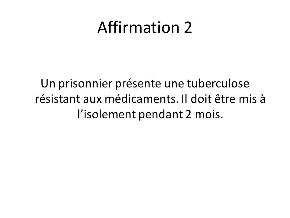 Affirmation 2 Un prisonnier présente une tuberculose résistant aux médicaments. Il doit être mis à lisolement pendant 2 mois.