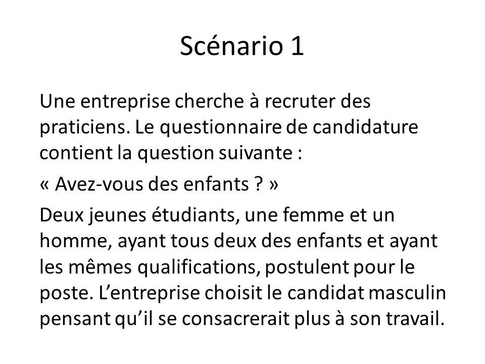 Scénario 1 Une entreprise cherche à recruter des praticiens. Le questionnaire de candidature contient la question suivante : « Avez-vous des enfants ?