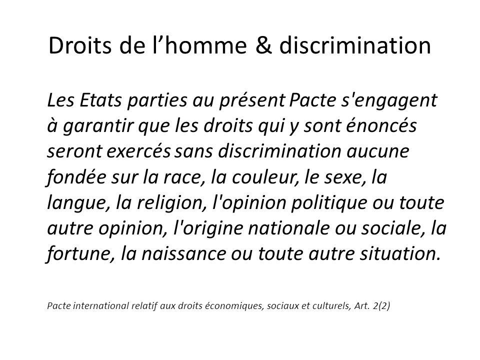 Droits de lhomme & discrimination Les Etats parties au présent Pacte s'engagent à garantir que les droits qui y sont énoncés seront exercés sans discr