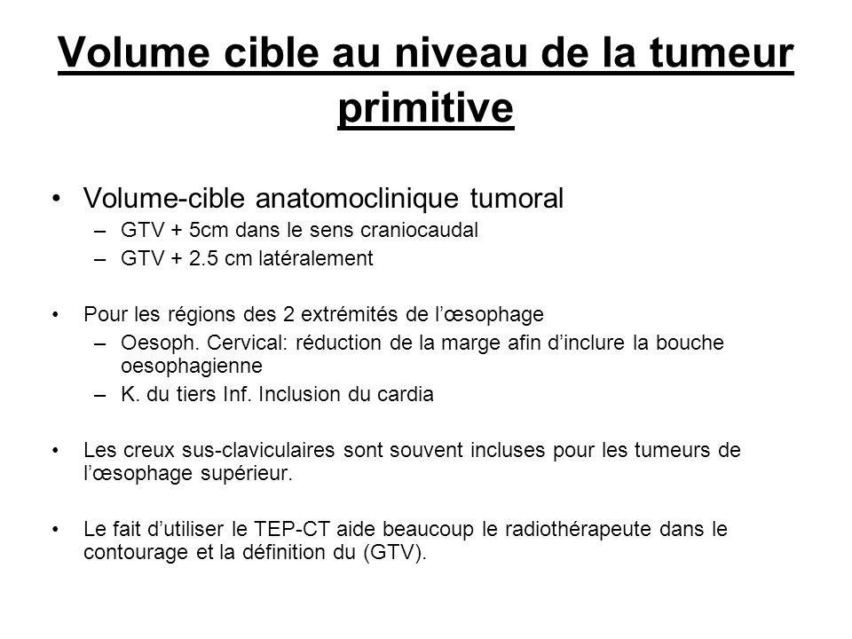 Volume cible au niveau de la tumeur primitive Volume-cible anatomoclinique tumoral –GTV + 5cm dans le sens craniocaudal –GTV + 2.5 cm latéralement Pou