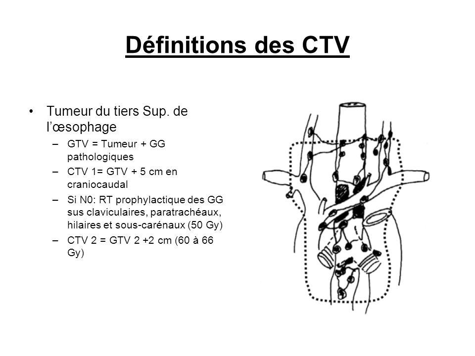 Définitions des CTV Tumeur du tiers Sup. de lœsophage –GTV = Tumeur + GG pathologiques –CTV 1= GTV + 5 cm en craniocaudal –Si N0: RT prophylactique de