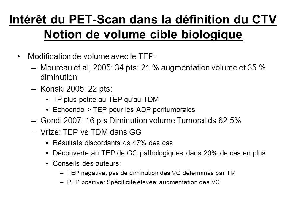 Intérêt du PET-Scan dans la définition du CTV Notion de volume cible biologique Modification de volume avec le TEP: –Moureau et al, 2005: 34 pts: 21 %