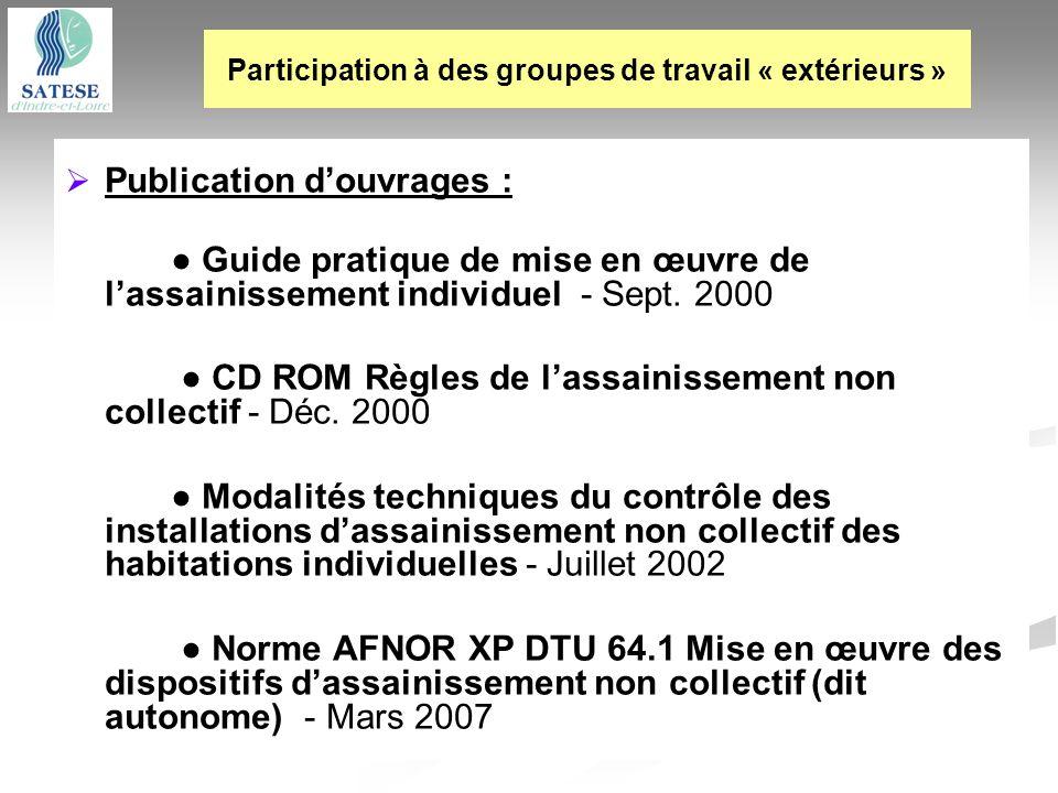 Publication douvrages : Guide pratique de mise en œuvre de lassainissement individuel - Sept. 2000 CD ROM Règles de lassainissement non collectif - Dé