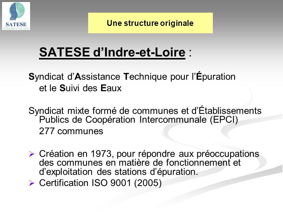 SATESE dIndre-et-Loire : Syndicat dAssistance Technique pour lÉpuration et le Suivi des Eaux Syndicat mixte formé de communes et dÉtablissements Publi