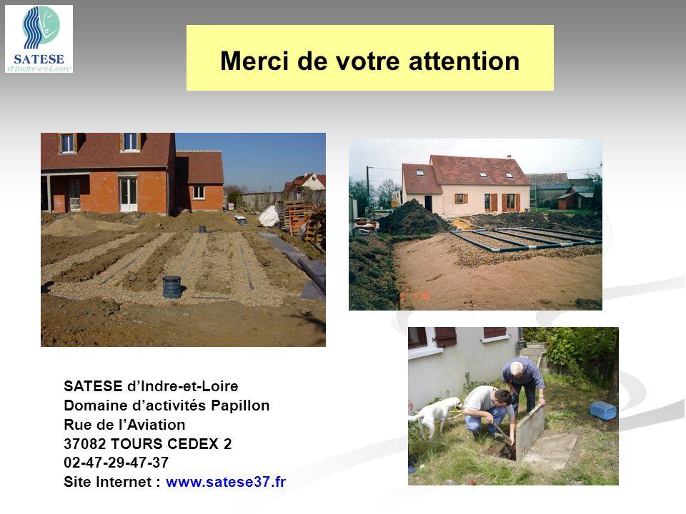 Merci de votre attention SATESE dIndre-et-Loire Domaine dactivités Papillon Rue de lAviation 37082 TOURS CEDEX 2 02-47-29-47-37 Site Internet : www.sa