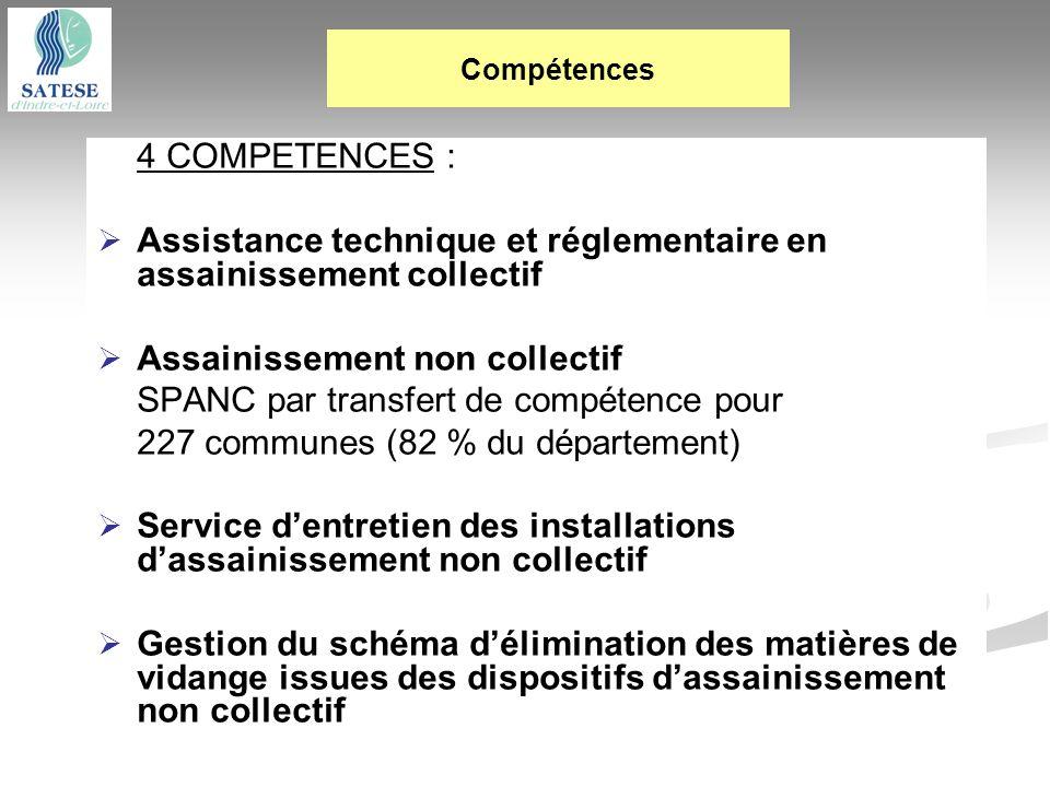 4 COMPETENCES : Assistance technique et réglementaire en assainissement collectif Assainissement non collectif SPANC par transfert de compétence pour