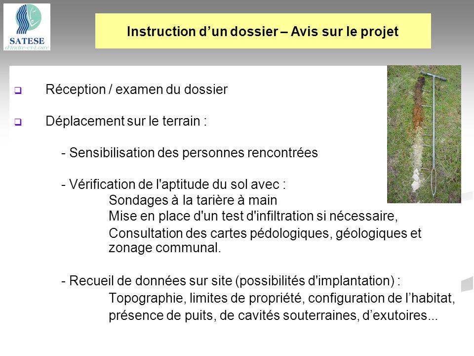 Réception / examen du dossier Déplacement sur le terrain : - Sensibilisation des personnes rencontrées - Vérification de l'aptitude du sol avec : Sond