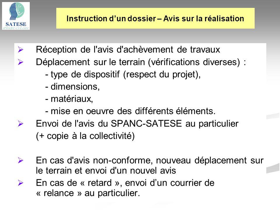 Réception de l'avis d'achèvement de travaux Déplacement sur le terrain (vérifications diverses) : - type de dispositif (respect du projet), - dimensio