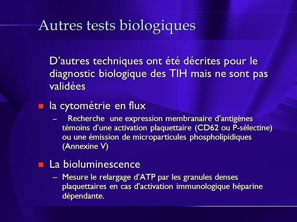 Autres tests biologiques Dautres techniques ont été décrites pour le diagnostic biologique des TIH mais ne sont pas validées la cytométrie en flux la