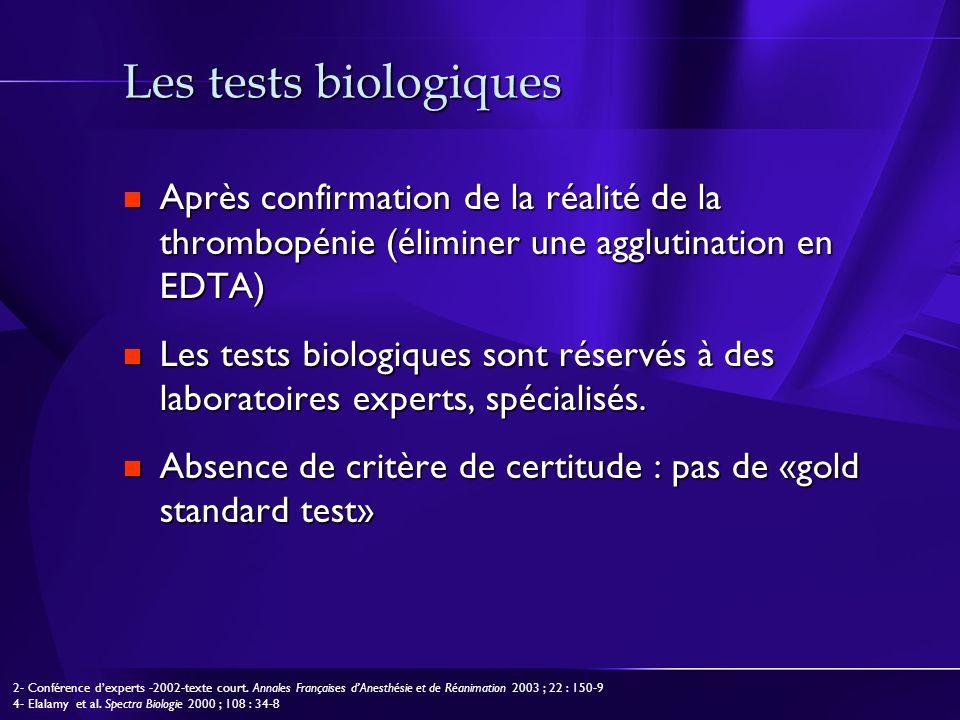 Les tests biologiques Après confirmation de la réalité de la thrombopénie (éliminer une agglutination en EDTA) Après confirmation de la réalité de la