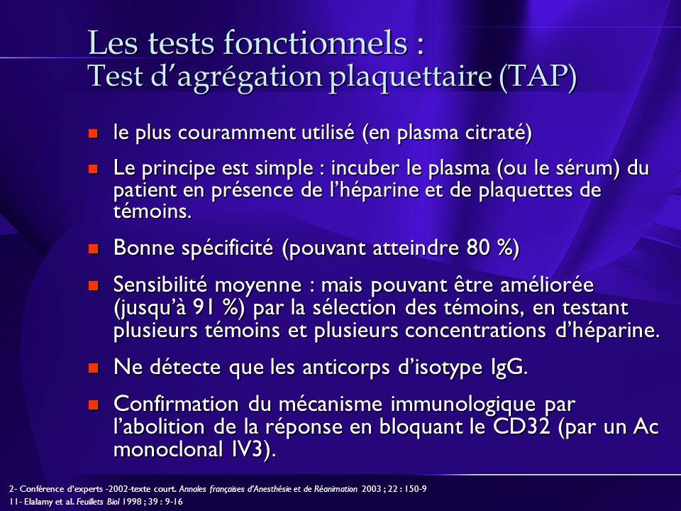 Les tests fonctionnels : Test dagrégation plaquettaire (TAP) le plus couramment utilisé (en plasma citraté) le plus couramment utilisé (en plasma citr