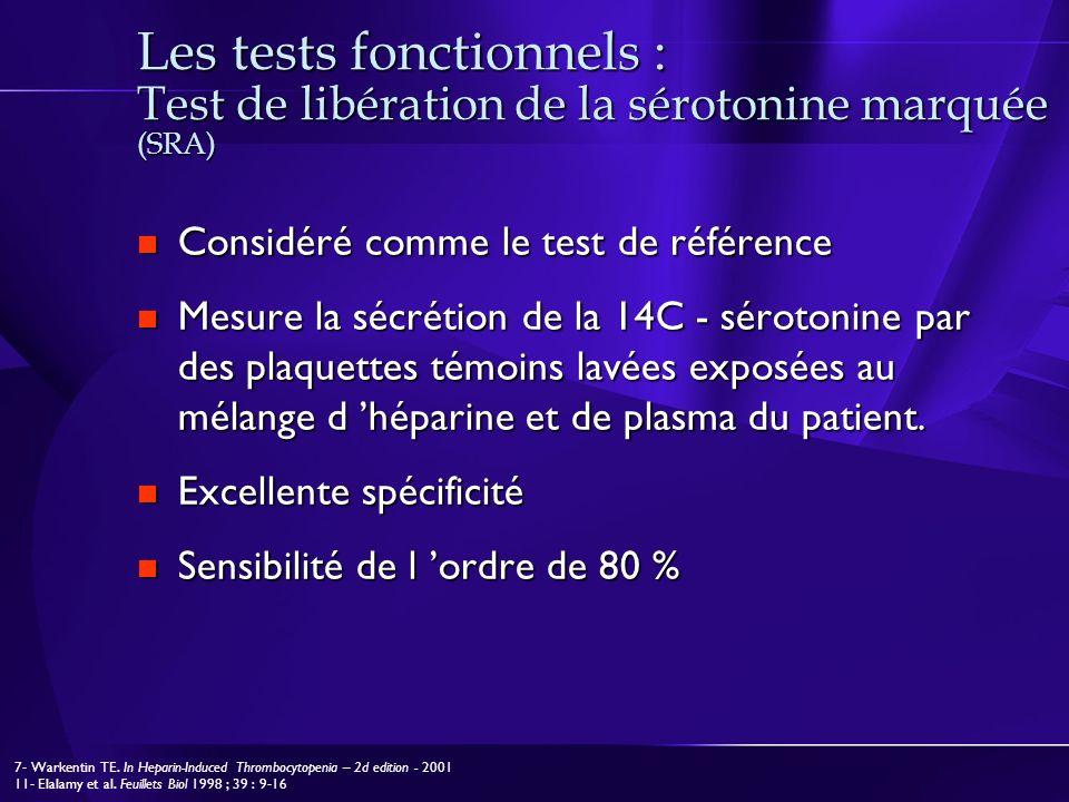 Les tests fonctionnels : Test de libération de la sérotonine marquée (SRA) Considéré comme le test de référence Considéré comme le test de référence M