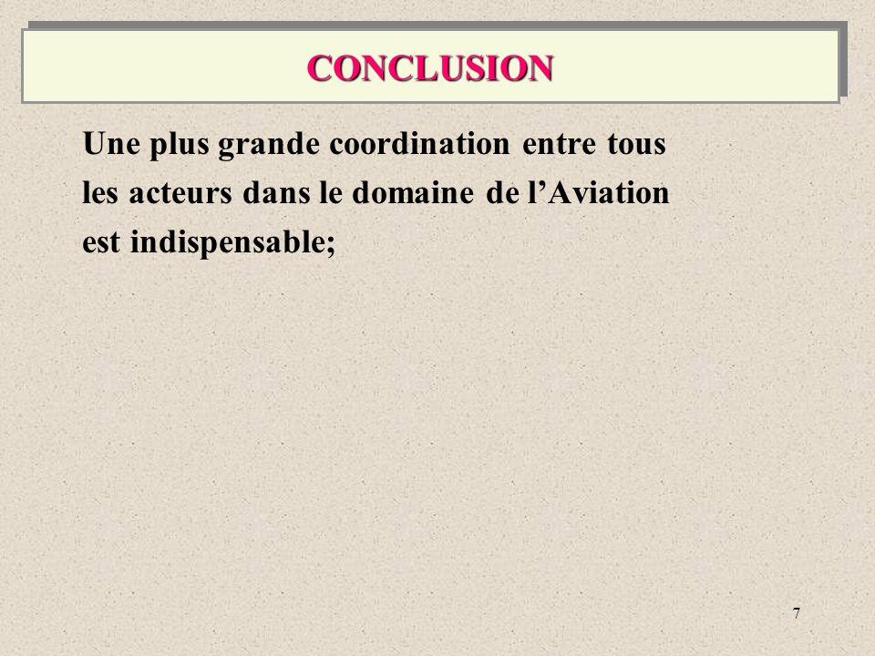 7 Une plus grande coordination entre tous les acteurs dans le domaine de lAviation est indispensable; CONCLUSIONCONCLUSION