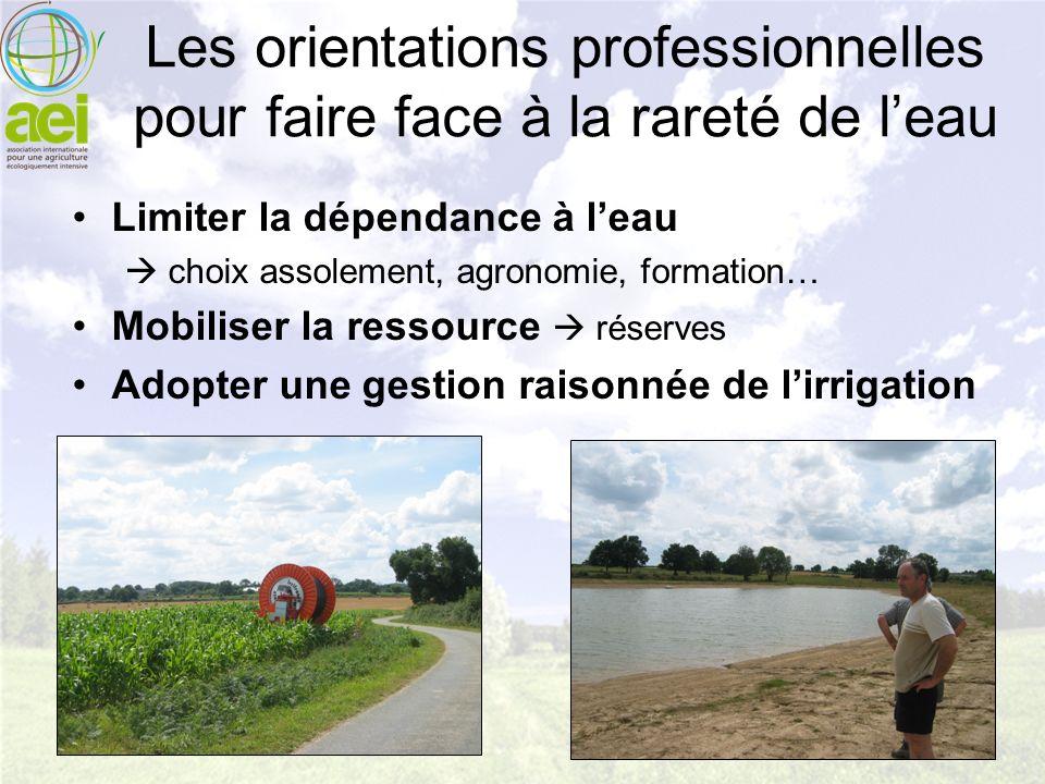 Les orientations professionnelles pour faire face à la rareté de leau Limiter la dépendance à leau choix assolement, agronomie, formation… Mobiliser l