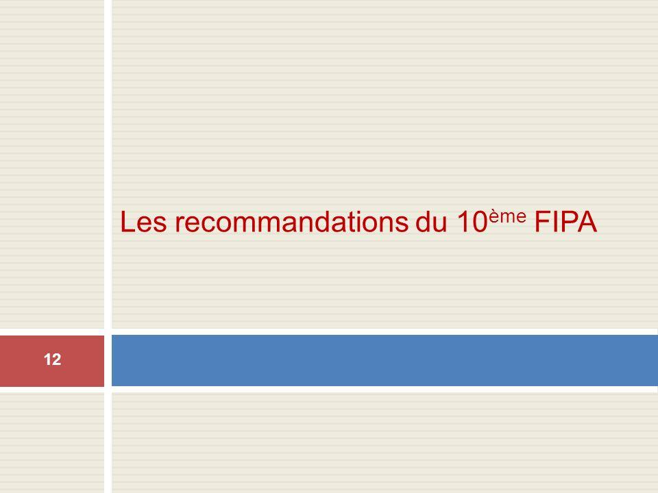Les recommandations du 10 ème FIPA 12