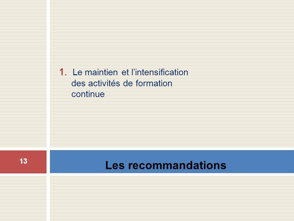 Les recommandations 1. Le maintien et lintensification des activités de formation continue 13