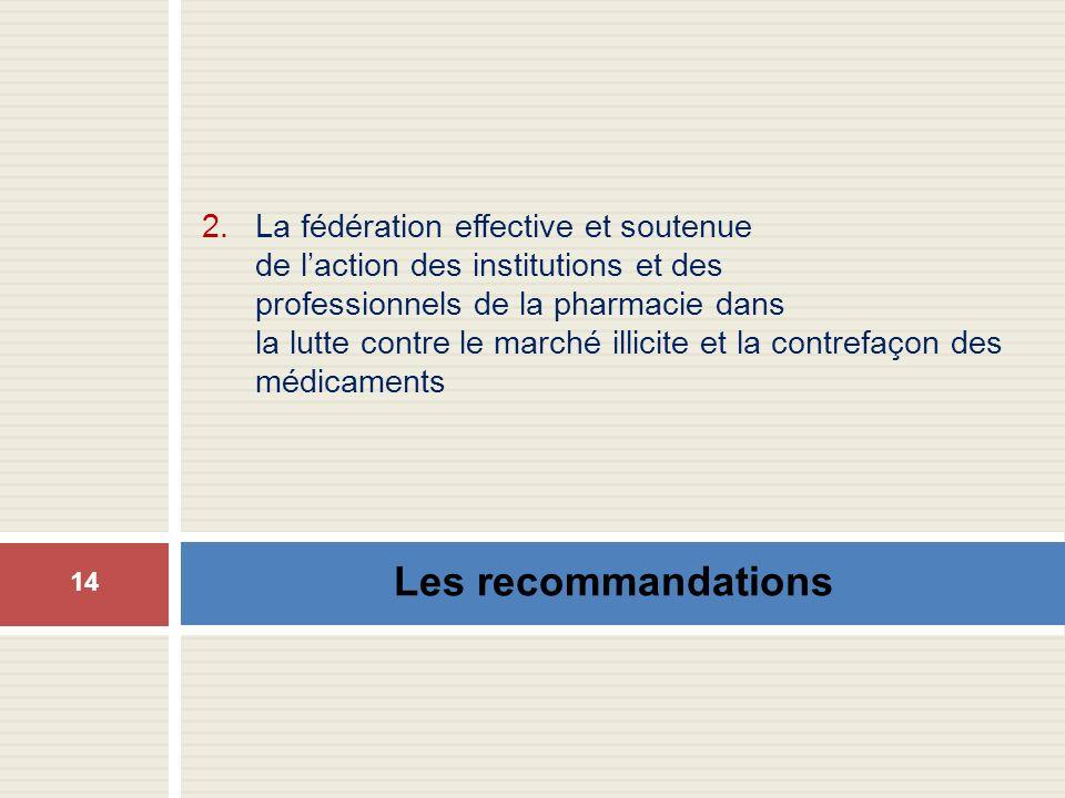 Les recommandations 14 2.La fédération effective et soutenue de laction des institutions et des professionnels de la pharmacie dans la lutte contre le