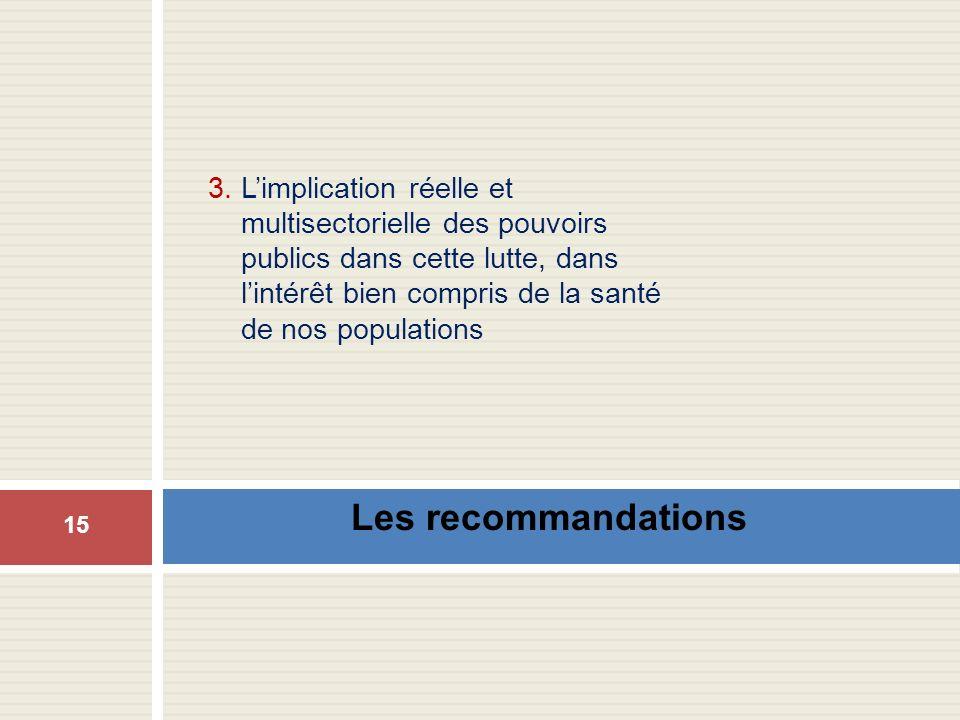 Les recommandations 3. Limplication réelle et multisectorielle des pouvoirs publics dans cette lutte, dans lintérêt bien compris de la santé de nos po