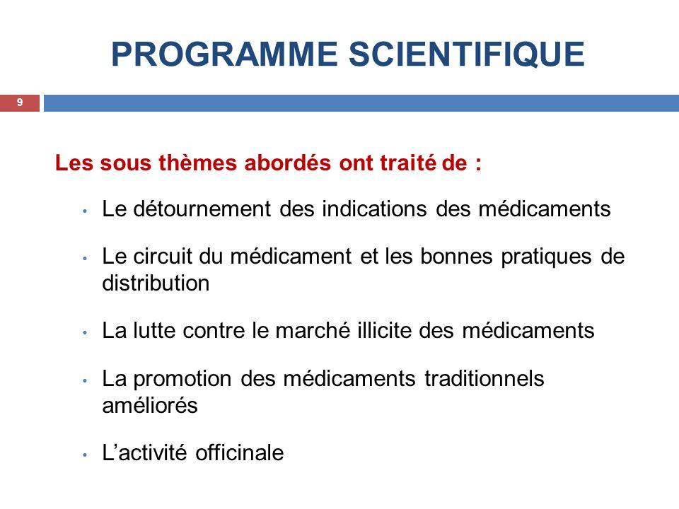 PROGRAMME SCIENTIFIQUE Les sous thèmes abordés ont traité de : Le détournement des indications des médicaments Le circuit du médicament et les bonnes