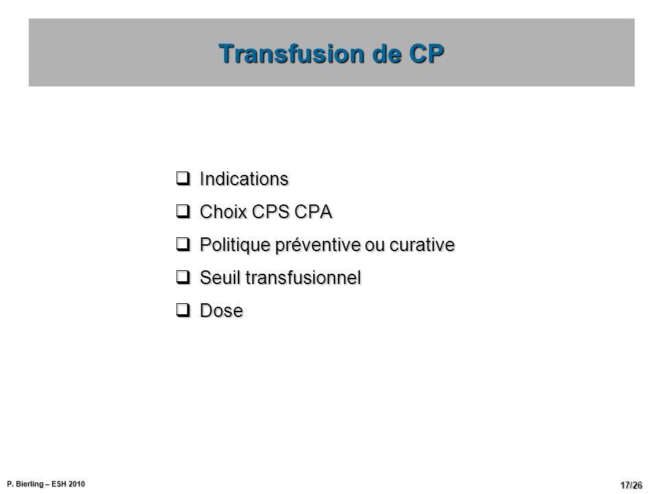P. Bierling – ESH 2010 17/26 Indications Indications Choix CPS CPA Choix CPS CPA Politique préventive ou curative Politique préventive ou curative Seu