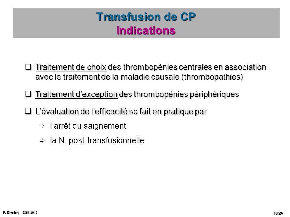P. Bierling – ESH 2010 18/26 Transfusion de CP Indications Traitement de choix des thrombopénies centrales en association avec le traitement de la mal