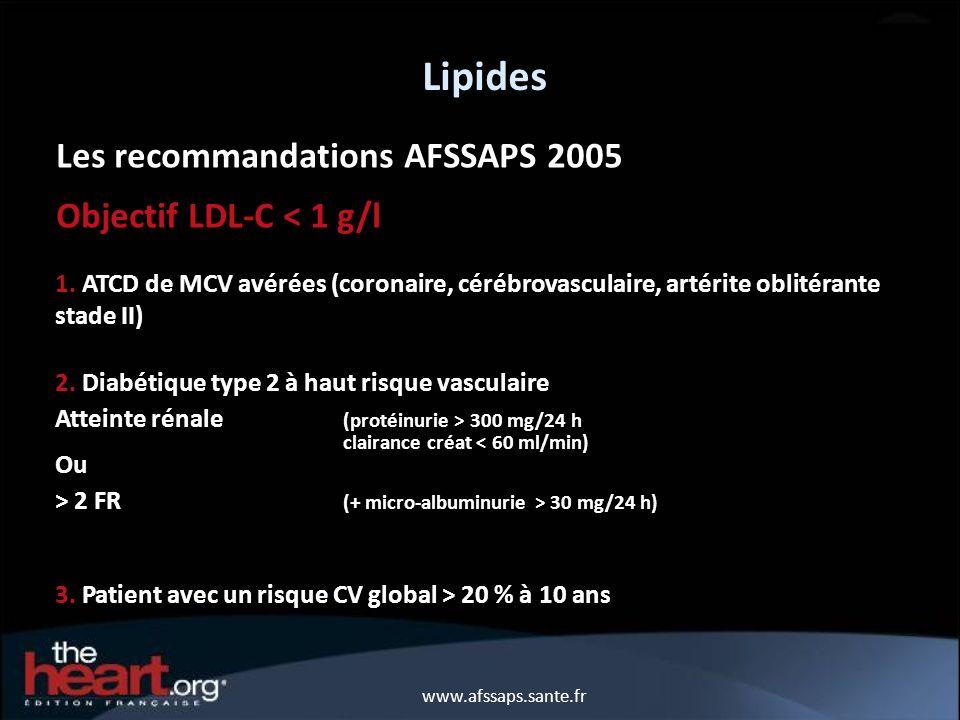 Lipides Les recommandations AFSSAPS 2005 Objectif LDL-C < 1 g/l 1. ATCD de MCV avérées (coronaire, cérébrovasculaire, artérite oblitérante stade II) 2