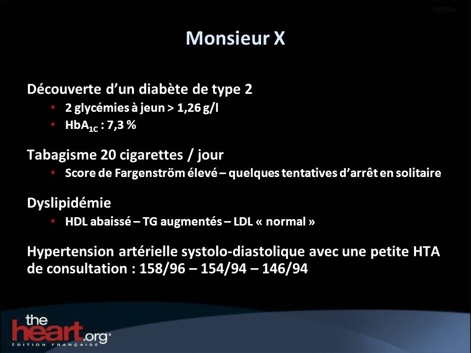 Monsieur X Découverte dun diabète de type 2 2 glycémies à jeun > 1,26 g/l HbA 1C : 7,3 % Tabagisme 20 cigarettes / jour Score de Fargenström élevé – q