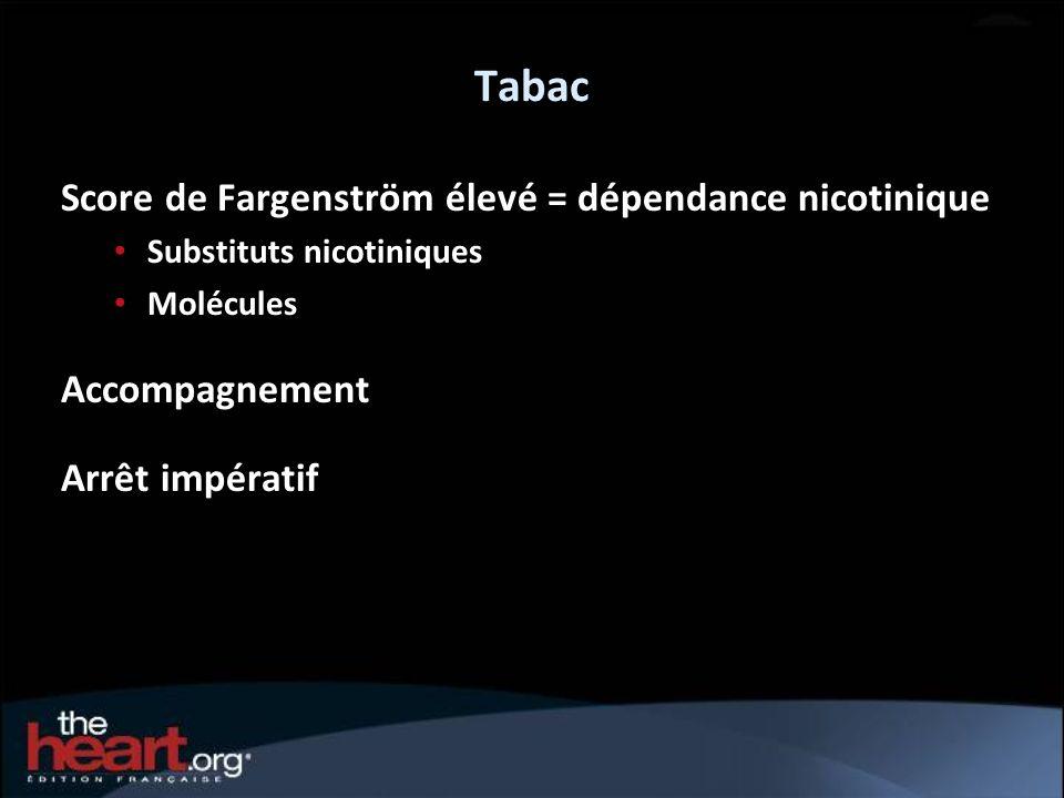 Tabac Score de Fargenström élevé = dépendance nicotinique Substituts nicotiniques Molécules Accompagnement Arrêt impératif