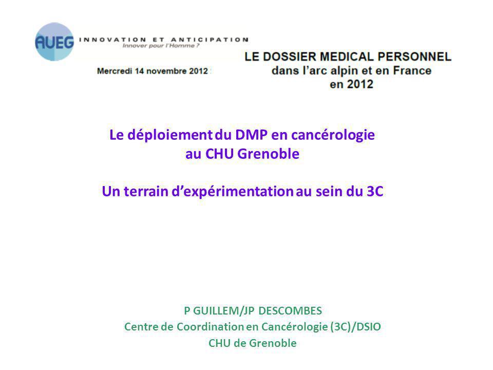 Le déploiement du DMP en cancérologie au CHU Grenoble Un terrain dexpérimentation au sein du 3C P GUILLEM/JP DESCOMBES Centre de Coordination en Cancé