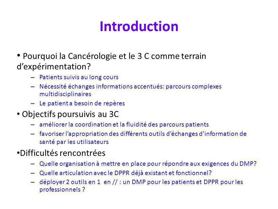 Introduction Pourquoi la Cancérologie et le 3 C comme terrain dexpérimentation? – Patients suivis au long cours – Nécessité échanges informations acce
