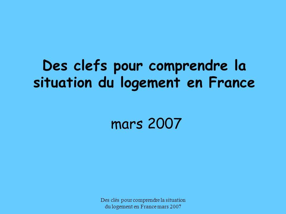 Des clés pour comprendre la situation du logement en France mars 2007 Le contexte les acteurs les outils Quelles perspectives ?
