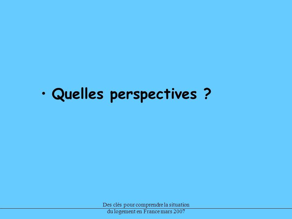 Des clés pour comprendre la situation du logement en France mars 2007 Quelles perspectives ?