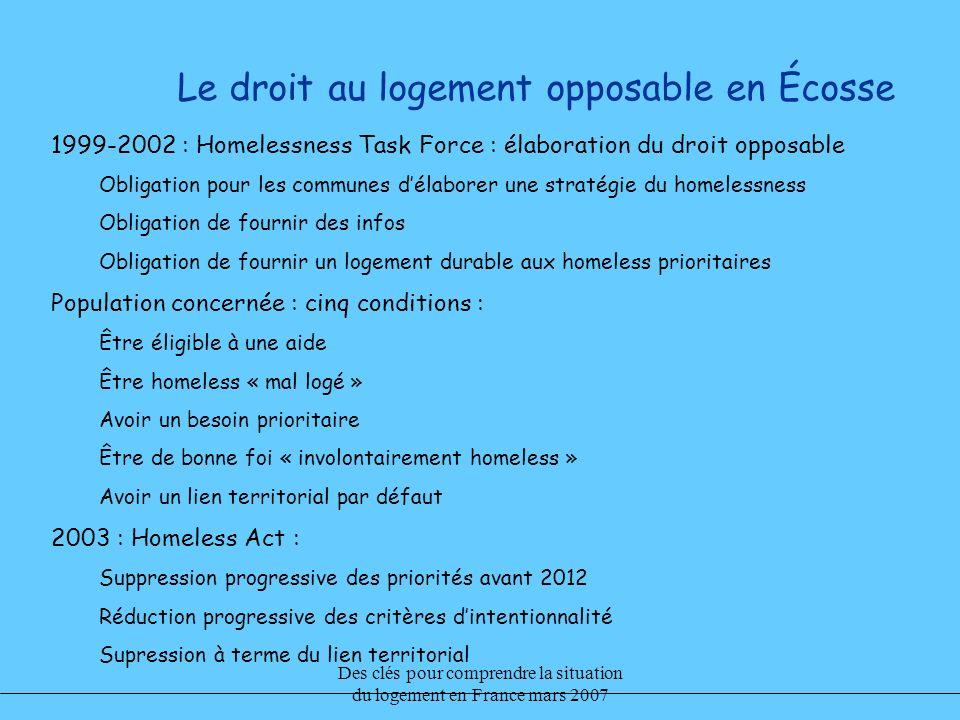 Des clés pour comprendre la situation du logement en France mars 2007 Le droit au logement opposable en Écosse 1999-2002 : Homelessness Task Force : é