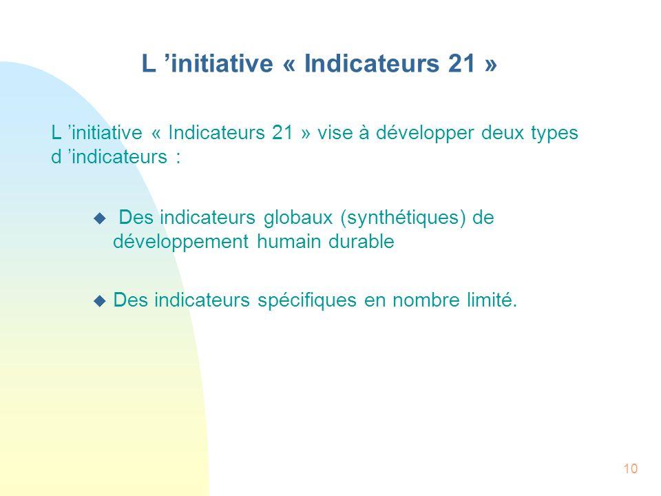 10 L initiative « Indicateurs 21 » L initiative « Indicateurs 21 » vise à développer deux types d indicateurs : u Des indicateurs globaux (synthétique